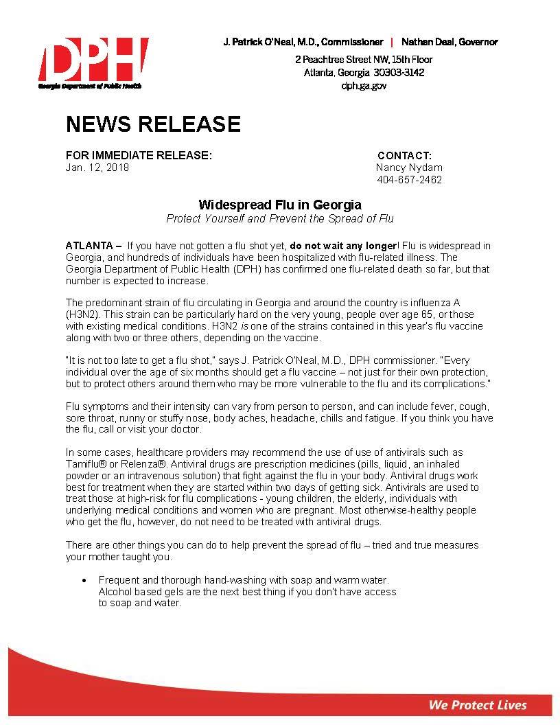 Dph News Release Widespread Flu In Georgia 2018 Finalpage1